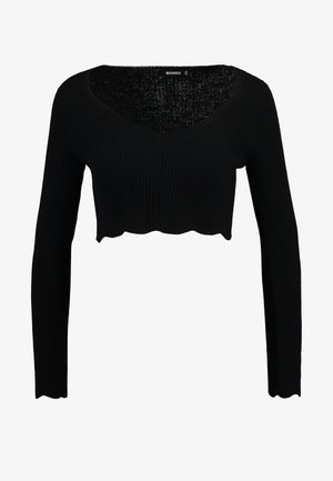 SCALLOP LONG SLEEVE CROP - Jumper - black