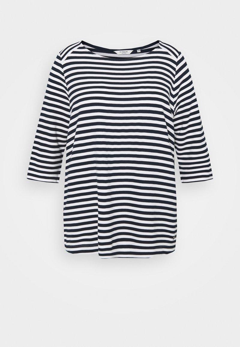 MY TRUE ME TOM TAILOR - OTTOMAN STRIPED - Long sleeved top - navy white regular stripe