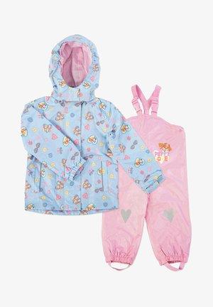 MATSCH UND BUDDELANZUG SET-Waterproof jacket - Kurahousut - hellblau print /rosa