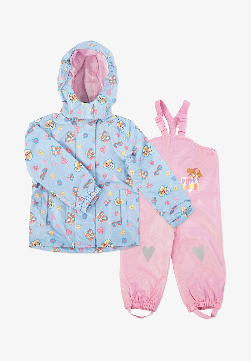 Paw Patrol - MATSCH UND BUDDELANZUG SET-Waterproof jacket - Rain trousers - hellblau print /rosa