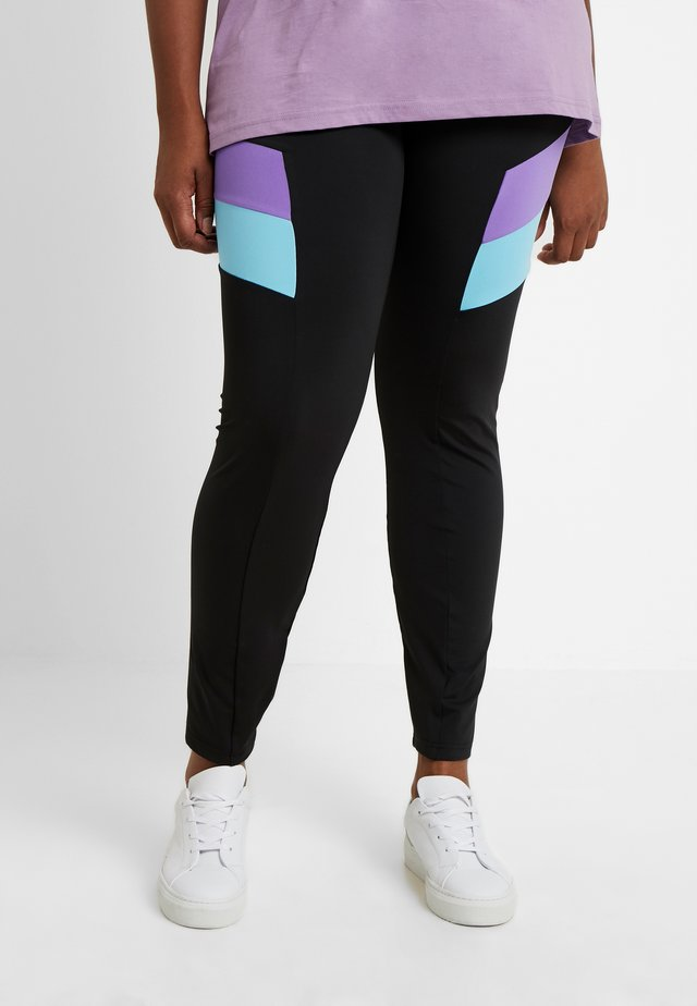 LADIES BLOCK - Legging - black/ultraviolet