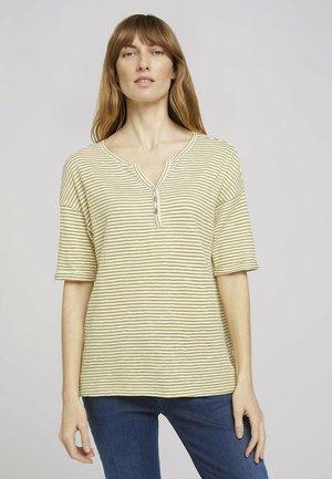 Print T-shirt - offwhite green stripe
