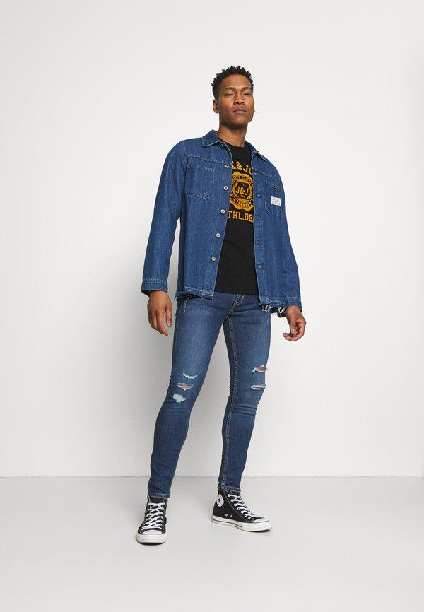 Jack & Jones JJFLOCK TEE CREW NECK - T-shirt z nadrukiem - black/czarny Odzież Męska LHQM