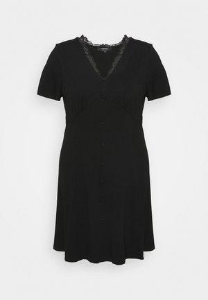 BUTTON THROUGH TEA DRESS - Jersey dress - black