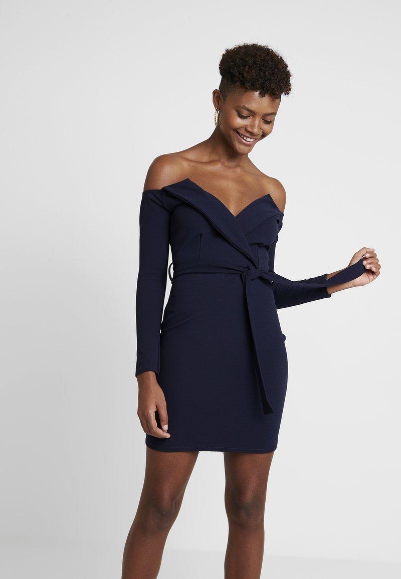 Missguided - BELTED BARDOT FOLDOVER MINI DRESS - Shift dress - navy