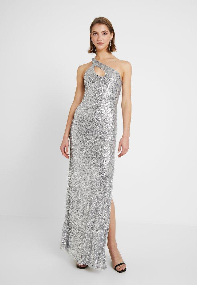 ONE SHOULDER SPARKLING GOWN - Robe de cocktail - silver