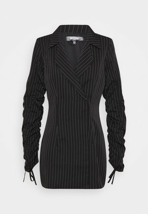 RUCHED SLEEVE BLAZER DRESS PINSTRIPE - Day dress - black