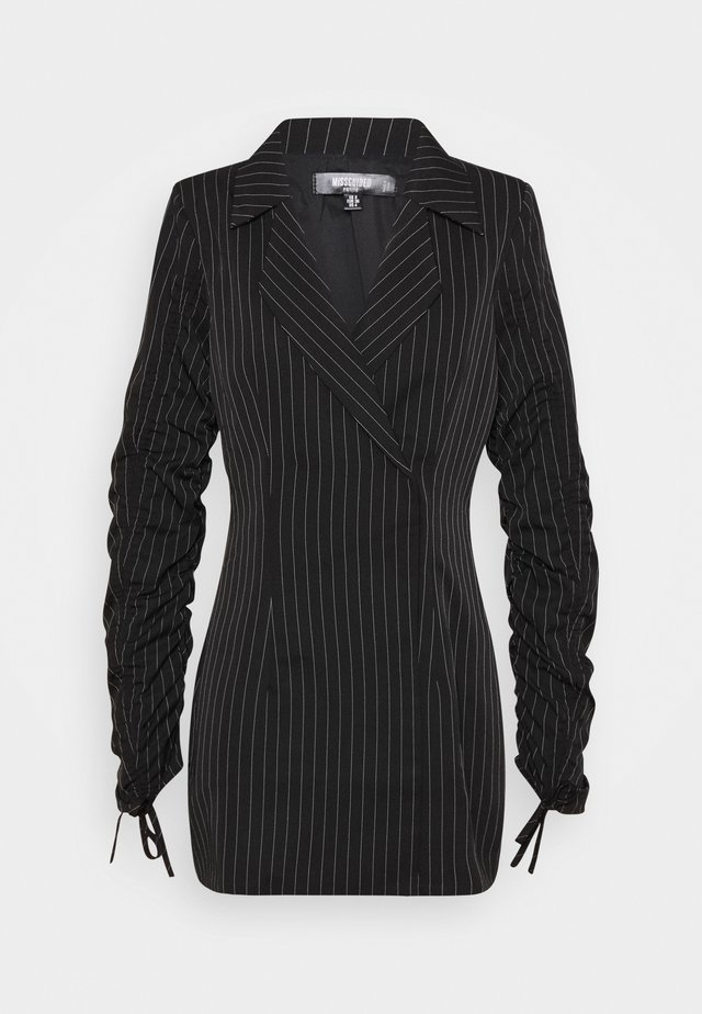 RUCHED SLEEVE BLAZER DRESS PINSTRIPE - Sukienka letnia - black