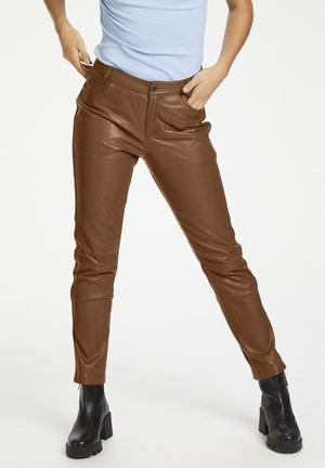Leather trousers - tortoise shell