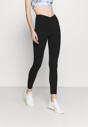 HIGH WAIST 7/8 LEGGING CROSS OVER WAISTBAND AND POCKETS - Leggings - black