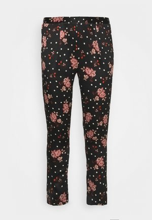 PRINTED TAPERED TROUSERS - Kalhoty - black/coral