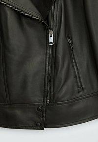 Massimo Dutti - BIKER - Leather jacket - black - 2
