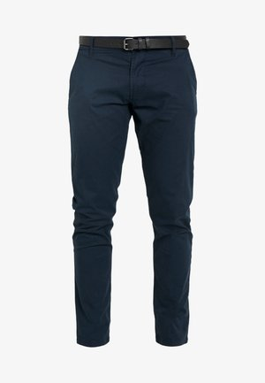 MENS STRETCH WITH BELT - Chinos - navy