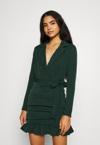 Missguided - RUCHED FRILL HEM - Cocktail dress / Party dress - dark green - 0