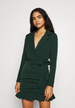 RUCHED FRILL HEM - Cocktailjurk - dark green