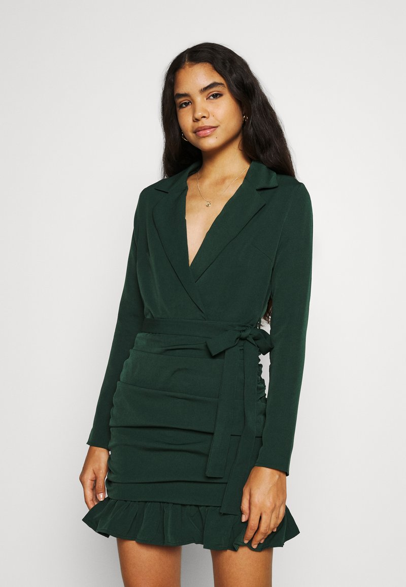 Missguided - RUCHED FRILL HEM - Cocktail dress / Party dress - dark green