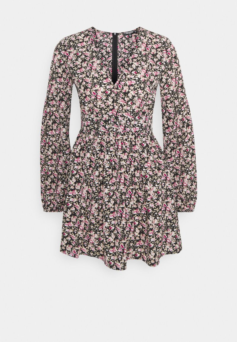Missguided Petite - FLORAL NECK SKATER  - Day dress - black