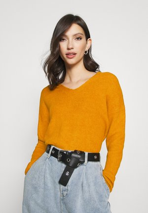 VMCREWLEFILE V NECK - Jumper - buckthorn brown/melange