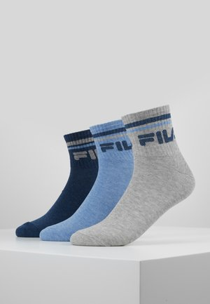 UNISEX PLAIN QUARTER 6 PACK - Socks - new sky/black