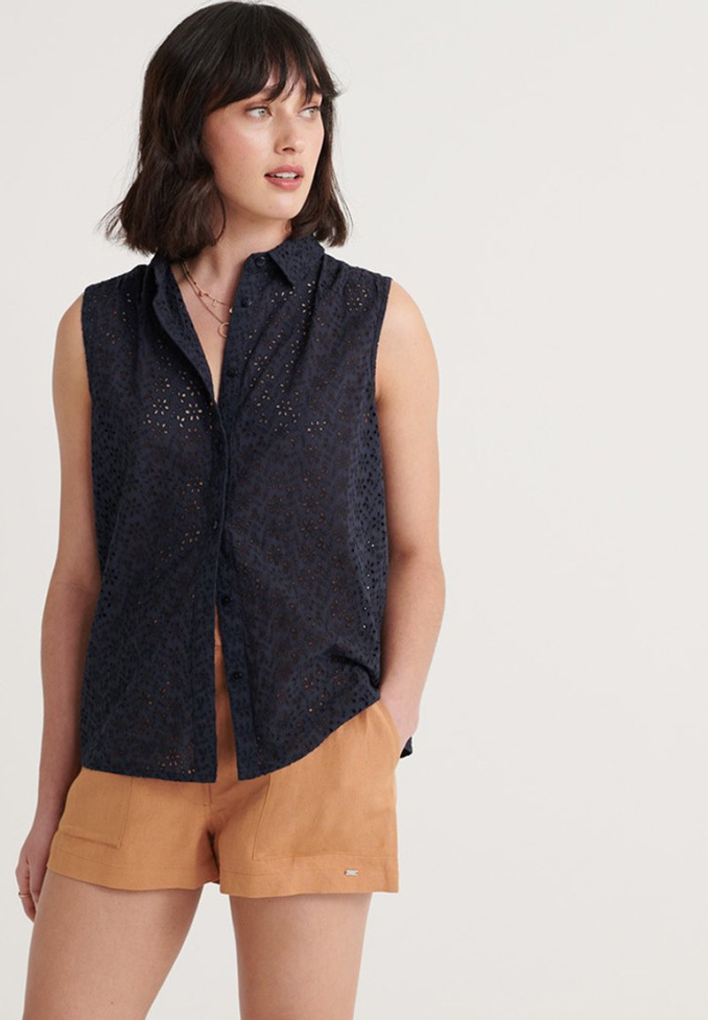 Superdry - SUPERDRY TILLY BRODERIE SHIRT - Button-down blouse - eclipse navy