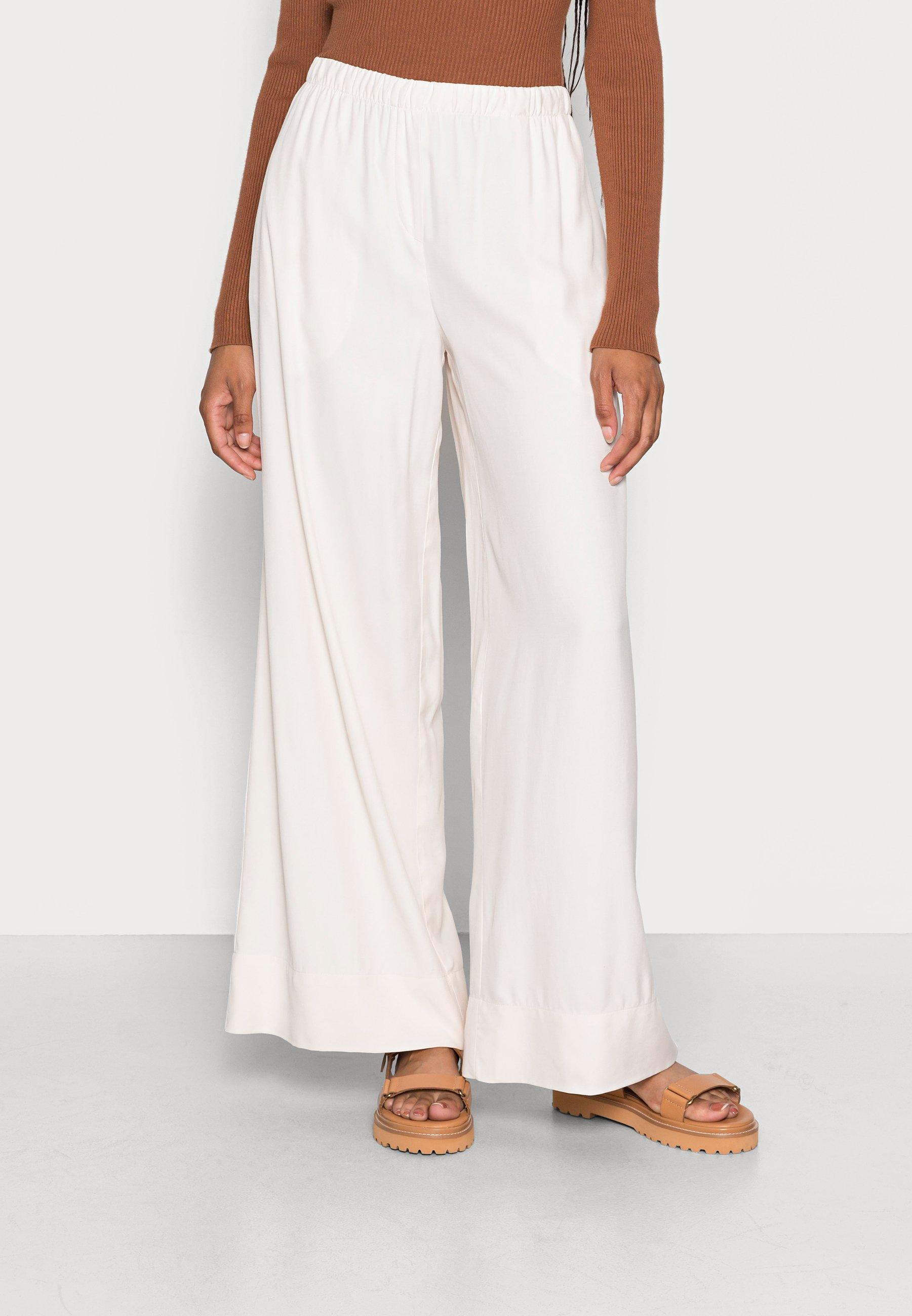 Mujer PANTS FLUENT WIDE LEG SLIM ELASTIC WAISTBAND SEAM POCKETS - Pantalones