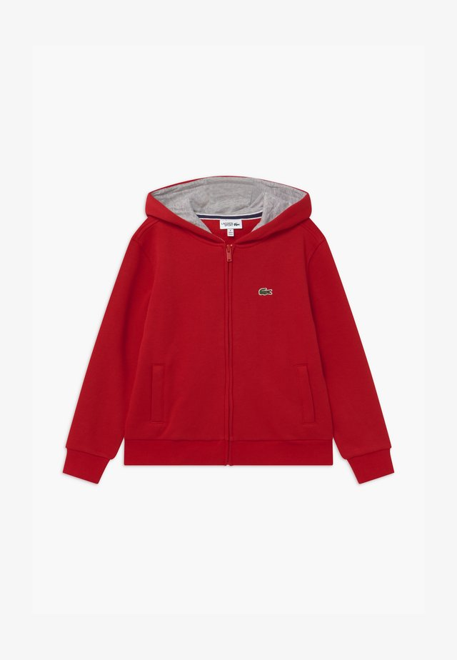 TENNIS - veste en sweat zippée - red/silver chine