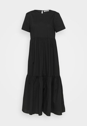 SHORT SLEEVE TIERED MIDI DRESS - Hverdagskjoler - black