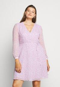 Glamorous Curve - SHEER LONGSLEEVE DRESS - Korte jurk - lilac lavender - 0