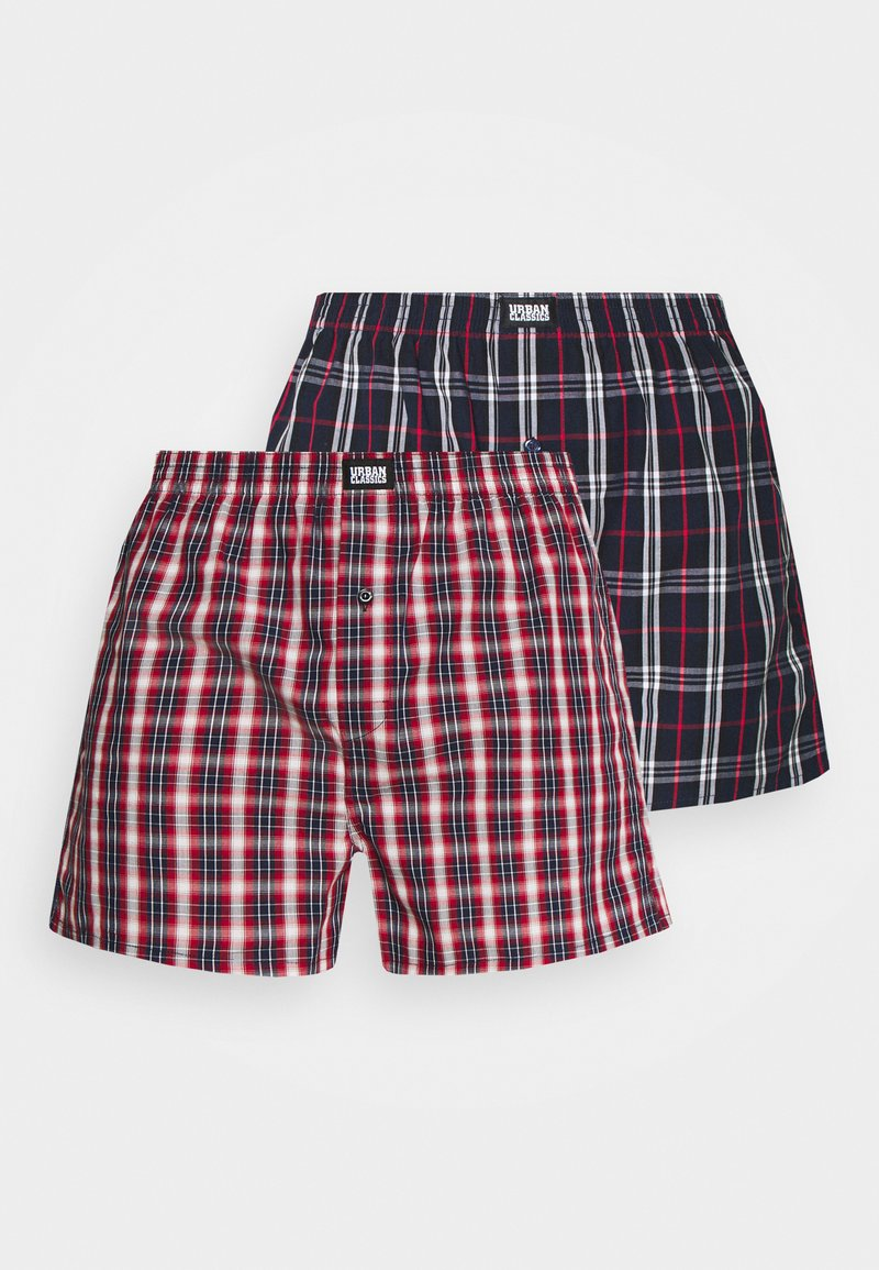 Urban Classics - WOVEN PLAID DOUBLE 2 PACK - Boxershort - red/navy