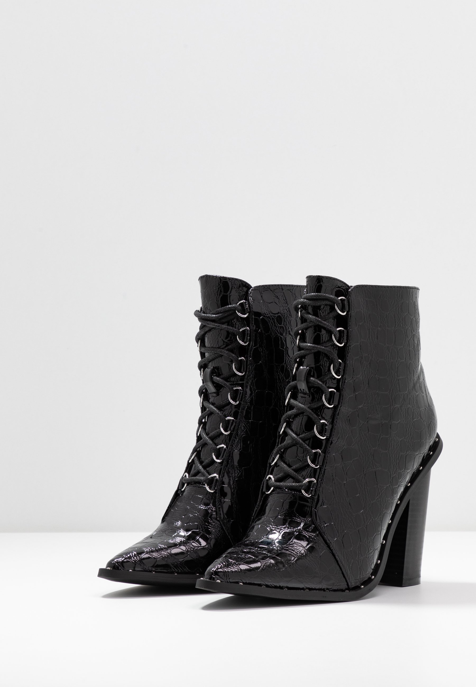 Missguided STUDDED CROC LACE UP  - Bottines à talons hauts - black - Chaussures à talons femme Pas cher
