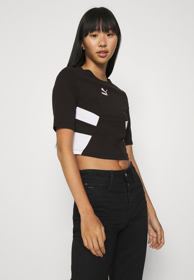 RETRO CROP  - Print T-shirt - black