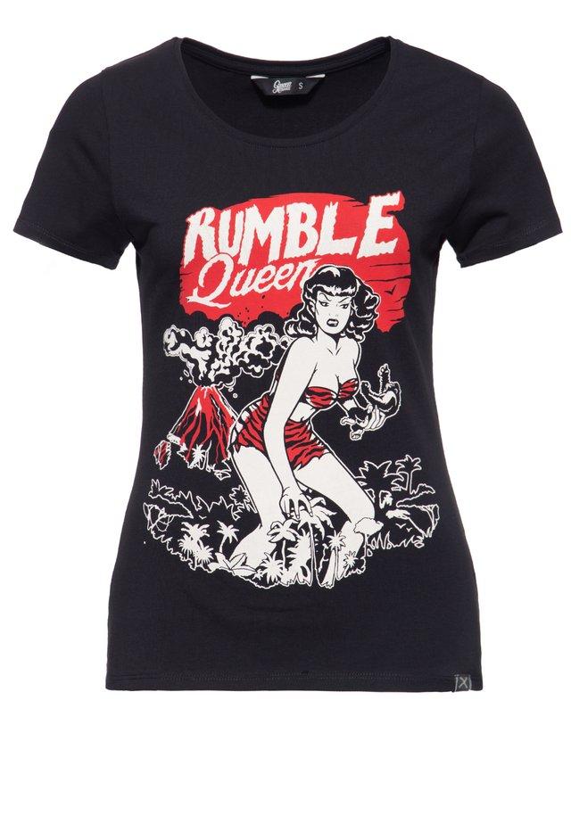 IM VINTAGE LOOK RUMBLE QUEEN - T-shirt imprimé - schwarz