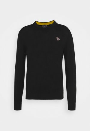 MENS CREW NECK ZEBRA - Sweter - black