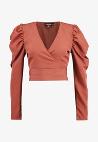 Missguided - PUFF SLEEVE WRAP CROP - Blouse - rust - 4