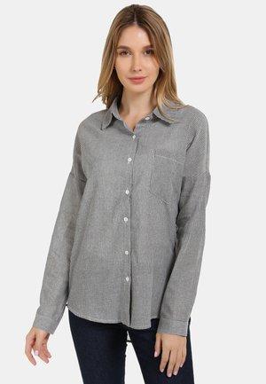 HEMDBLUSE - Button-down blouse - schwarz gestreift