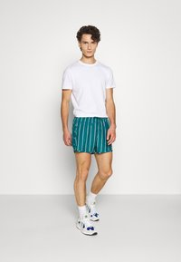 Weekday - STRIPED SWIM - Swimming shorts - petrol green/white - 1