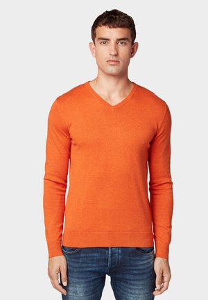 BASIC V NECK  - Jumper - autumn orange melange
