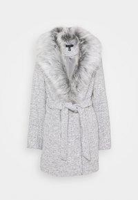 New Look - ALICIA BELTED FUR COLLAR COAT - Classic coat - light grey - 0