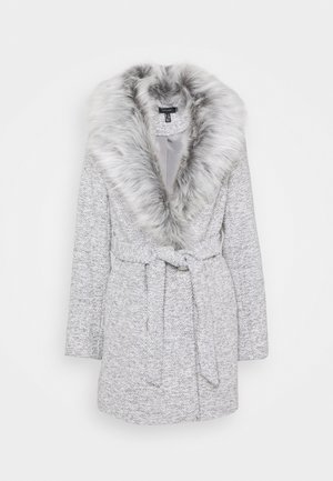ALICIA BELTED FUR COLLAR COAT - Classic coat - light grey