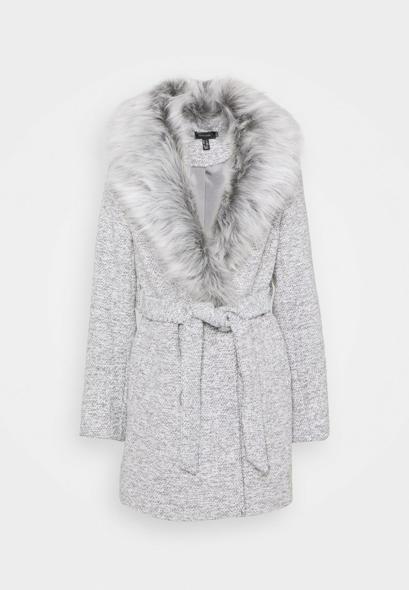 New Look - ALICIA BELTED FUR COLLAR COAT - Classic coat - light grey