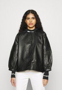 Selected Femme - SLFVERA  O NECK JACKET - Leather jacket - black - 0