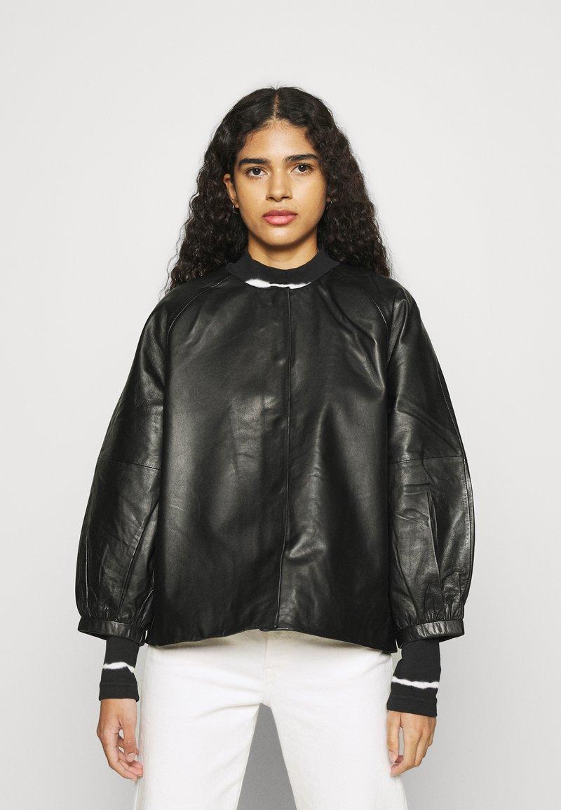 Selected Femme - SLFVERA  O NECK JACKET - Leather jacket - black
