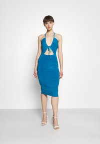 Missguided - HALTER NECK CHANNEL CUT OUT - Jersey dress - blue - 0