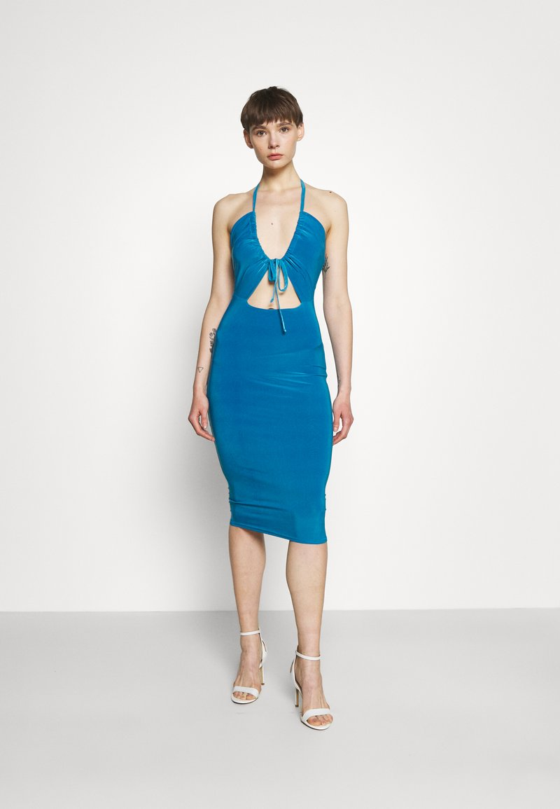 Missguided - HALTER NECK CHANNEL CUT OUT - Jersey dress - blue