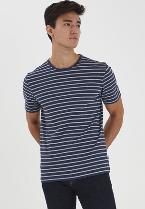 T-shirt print - blue indigo melange