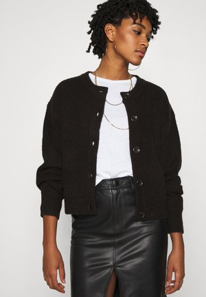 CREW NECK CARDIGAN - Gilet - black