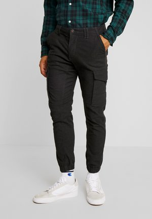 JJIPAUL JJFLAKE HERRINGBON - Pantalon cargo - black