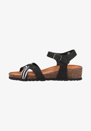 Sandali con zeppa - nero