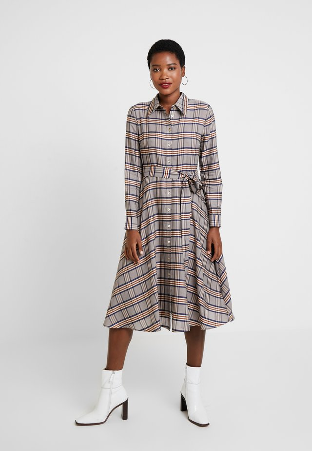 LONG SLEEVE CHECKED DRESS - Skjortekjole - blues