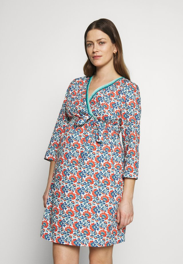 DRESS WITH WRAP NECKLINE FLOWER PRINT - Vapaa-ajan mekko - blue/red